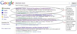 electronic tscm gets ranked in google